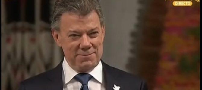 Presidente Juan Manuel Santos recibe el premio Nobel de Paz